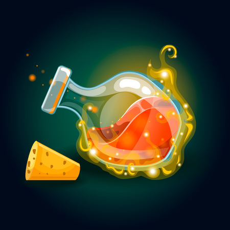Bottle with magic smog and elixir. Game design illustration