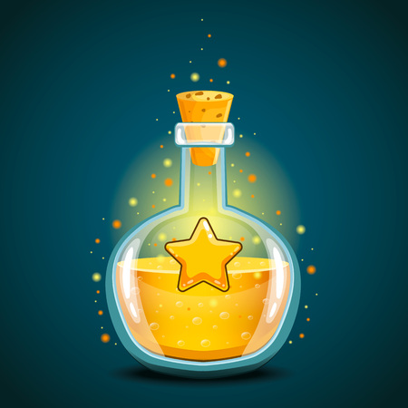 Bottle of magic elixir with star