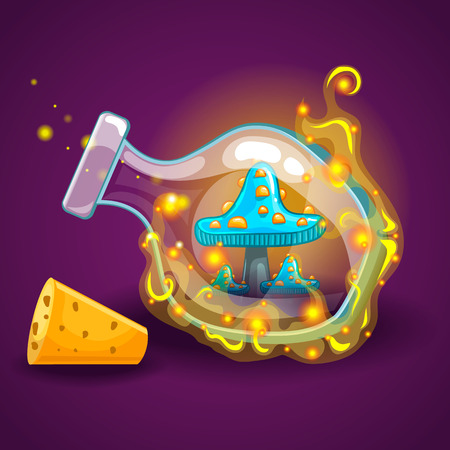 Bottle with magic smoke and mushrooms. Game design