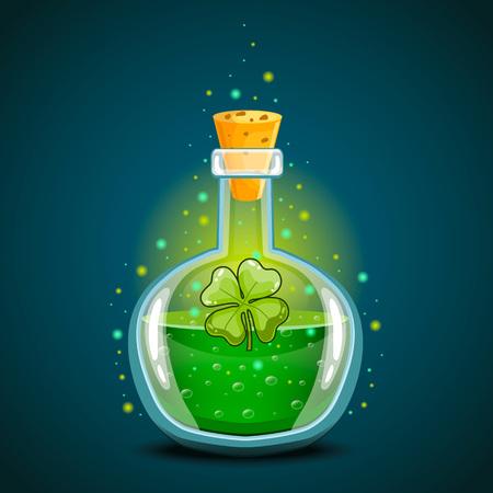 Bottle with clover leaf, magic elixir Illustration