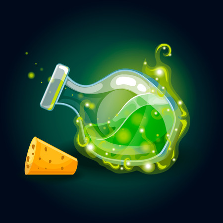 Bottle with magic smog and elixir