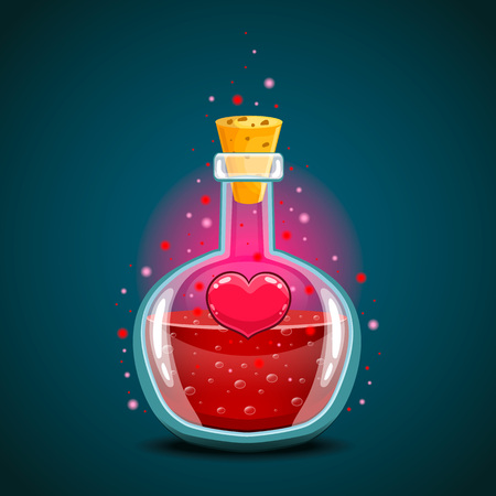 Bottle with heart, magic elixir. Love potion Illustration