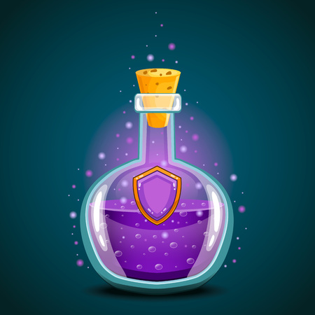 Bottle of magic elixir with shield