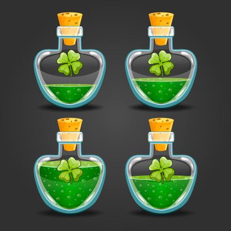 Clover bottles with different liquid level Illustration