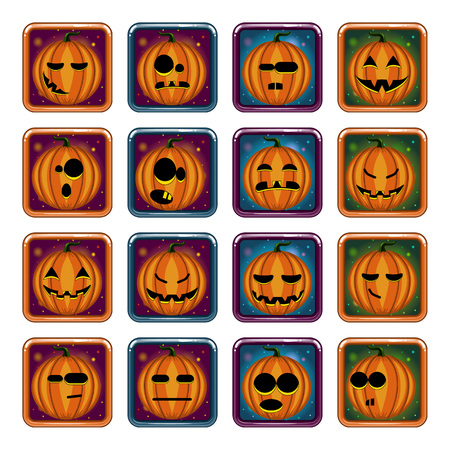 Big set apps icon with Halloween pumpkin. Game illustration