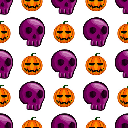 Seamless pattern with Halloween pumpkin and skull. Holiday illustration