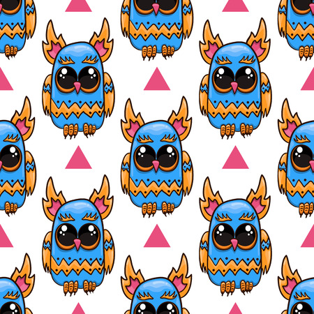 Cute vector owl in cartoon style. Fantastic animal illustration