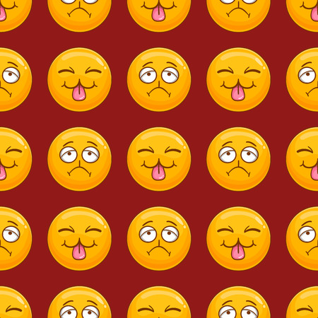 Seamless pattern with cartoon smile face. Emotion illustration Vetores