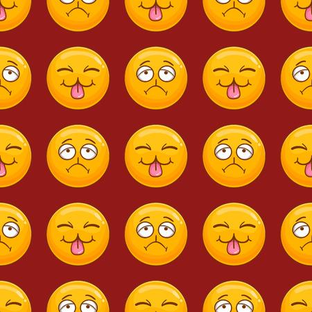 Wzór z kreskówka twarz uśmiech. Ilustracja emocji Ilustracje wektorowe