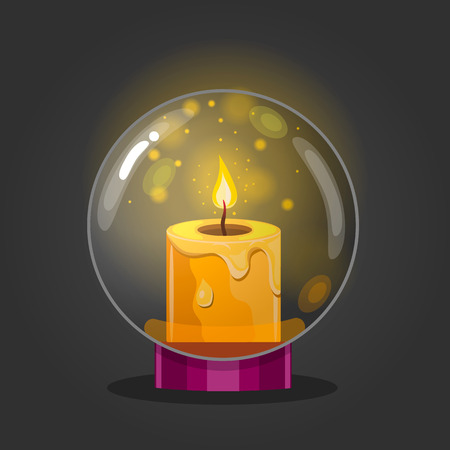 Burning candle in a glass bowl. Cartoon vector illustration
