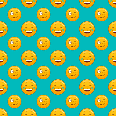 Seamless pattern with cartoon smile face. Emotion illustration