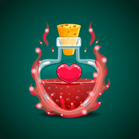 Big set of flasks with different poisons. Game design illustration
