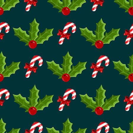 seamless pattern with mistletoe and Christmas candy. Christmas illustration. Ilustração