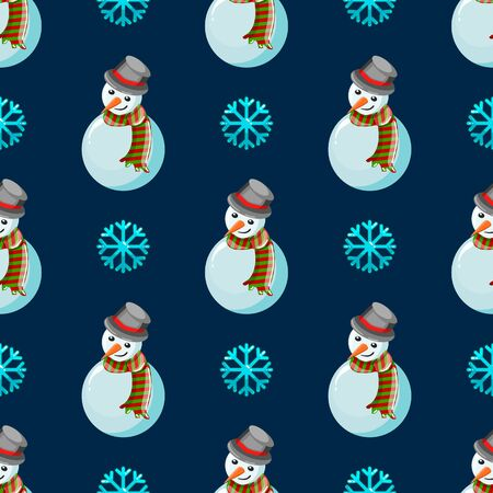 Seamless pattern with snowman on blue background. Christmas illustration.
