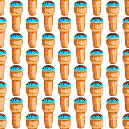 Seamless pattern with vector cartoon ice cream