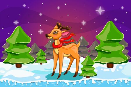 Winter landscape with Christmas tree and deer. Merry Christmas cute illustration.