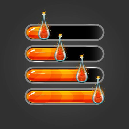 Big set of bar downloader with elixir bottles. Game interface elements. Game resource bar. Vector illustration