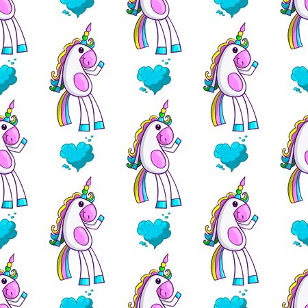 Seamless pattern with cute unicorn and cloud in heart form