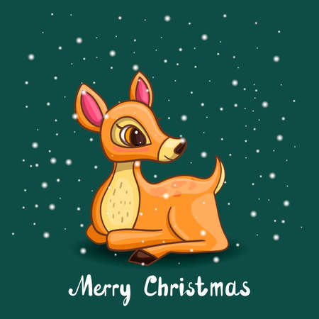 Christmas greeting card with deer and snow