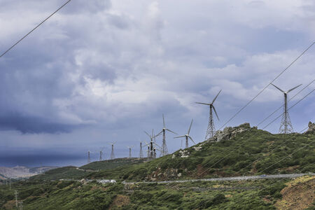 The shore of the Strait, the wind farms. photo