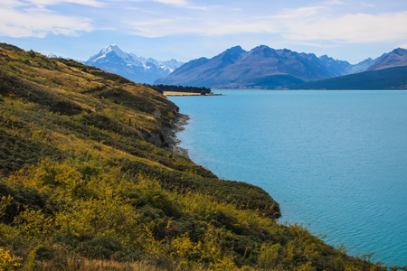Mount Cook National Park is in the South Island of New Zealand, near the town of Twizel, New Zealands highest mountain, and Aoraki Mount Cook Village lie within the park, glacial lake Pukaki