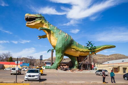 Drumheller, Alberta, Canada 18. April 2019 World's largest dinosaur, The dinosaur capital of the world, Travel Alberta, Historic town, tourism, museum, holiday. Editorial