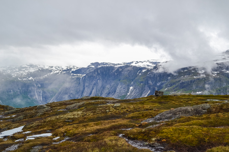 Hike starts from town called Odda. Trolltunga hike, Lake Ringedalsvatnet, Norway, Beautiful scandinavian landscape, Scandianavia, summer nature.