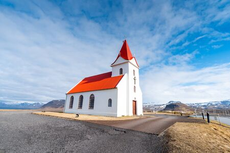 Panoramic view of Ingjaldsholskirkja church in Hellissandur, Iceland. Incredible Image of Icelandic landscape and architecture. Isolated church in a scenery of Scandinavia