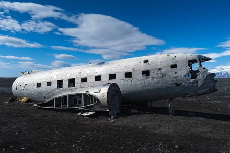 A very famous American plane wreck in Iceland located on the Black Sand Beach near town of Vik