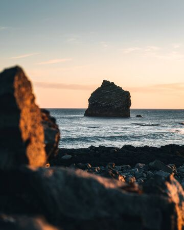 Marvelous sunset on popular tourist attraction Valahnukamol bay in southern Iceland. Cliffs are located in Reykjanes peninsula and are easily accessible from Keflavik or Reykjavik the capital city