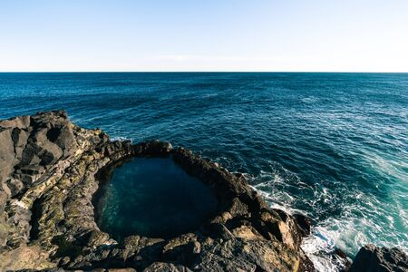 Lava rock pool called Brimketill is very interesting spot in Reykjanes peninsula in Iceland. Tourism in Iceland