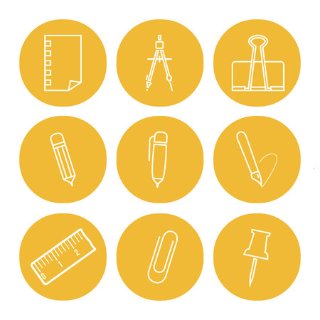 linear icons of office tools on the yellow round backgrounds Vector