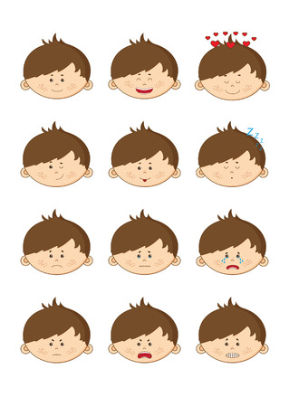 illustration icons of the little boy with 12 different emotions Vector
