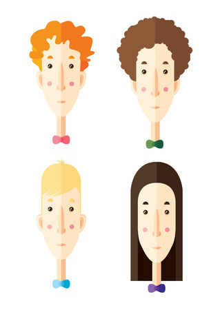 haircuts: Flat faces of man with different haircuts