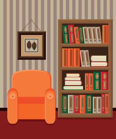 Illustration interior of home library with bookcase and armchair Vector