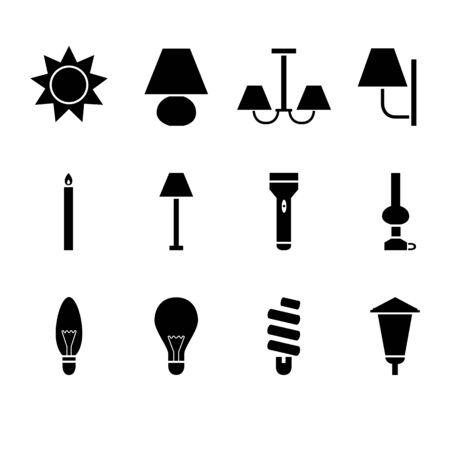 sconce: Simple black icons of different sources of light Illustration