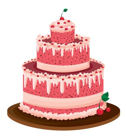pink cake: illustration of a big pink cake with cherries and cream Illustration