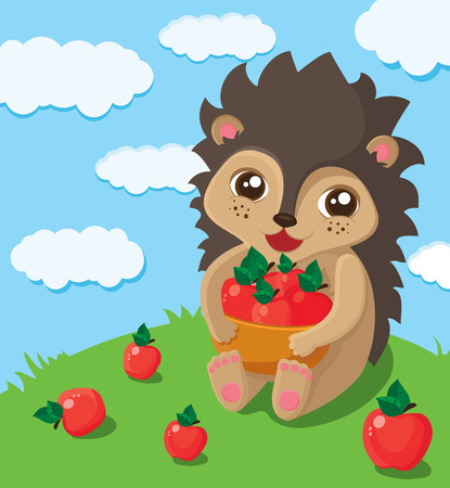 the illustration of a little cute hedgehog that takes big pad with red apples Vector