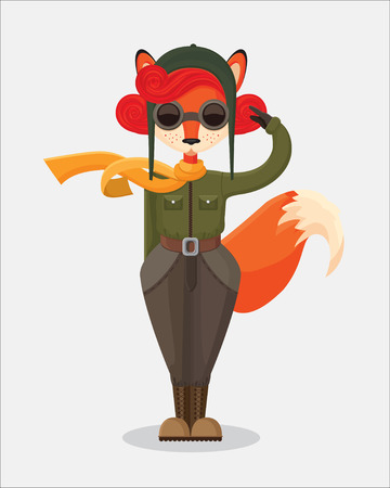 pilot: the illustration of military fox-pilot that upstanding and salute in retro style on the simple gray background Illustration