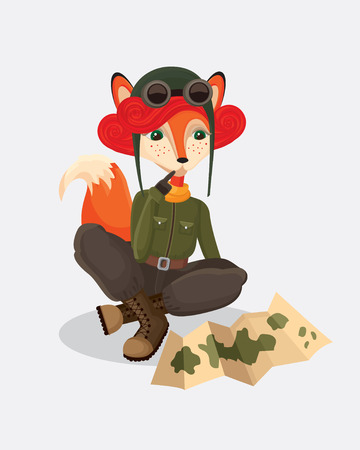 military watch: illustration of military fox-pilot that watch the map in retro style on the simple gray background Illustration