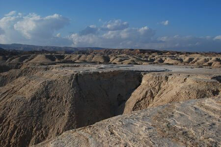 arava: Makhteshim Mitzpe Ramon. Small Machtesh (Crater) Israel. Negev Desert. Spring in the desert. Israel Color of the Earth, where the soil has a lot of different colors.