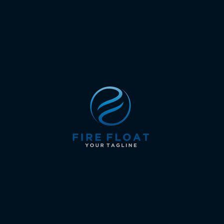 Initial Letter F Circle Line art Yin Yang Logo Illustration