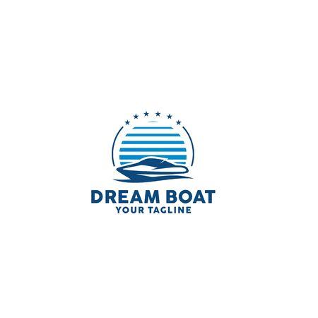 Luxury Boat or Speed Boat for Vacation and Water Sport 向量圖像