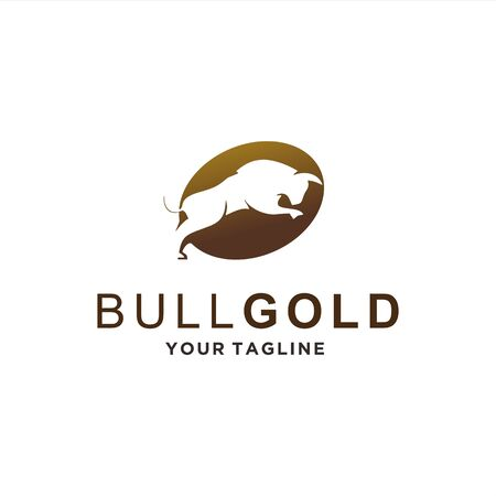 Negative silhouette Gold Bull for Masculine Logo