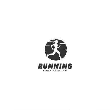 Running logo black and white