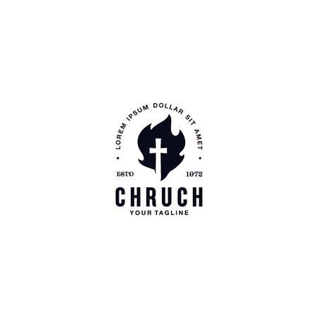 Black and White church logo template