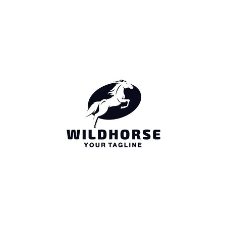 Black and White horse logo template Illustration