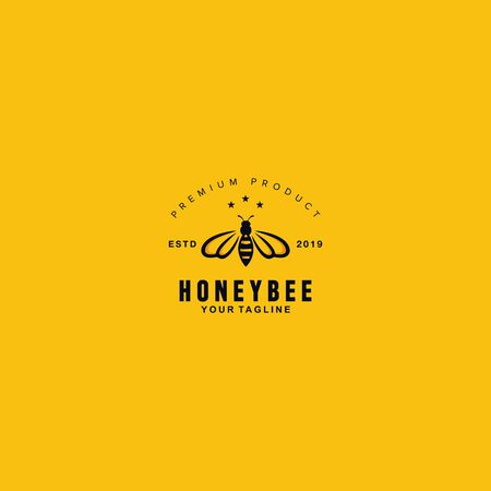 Black and white honey bee logo