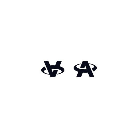 Black and white initial letter A and V logo