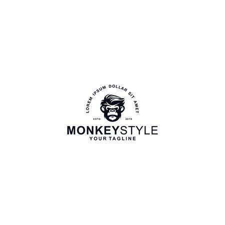 Black and white monkey logo Logo